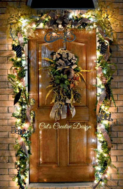 Door décor at night @ Cat's Holiday & Home Decor | My Door ...