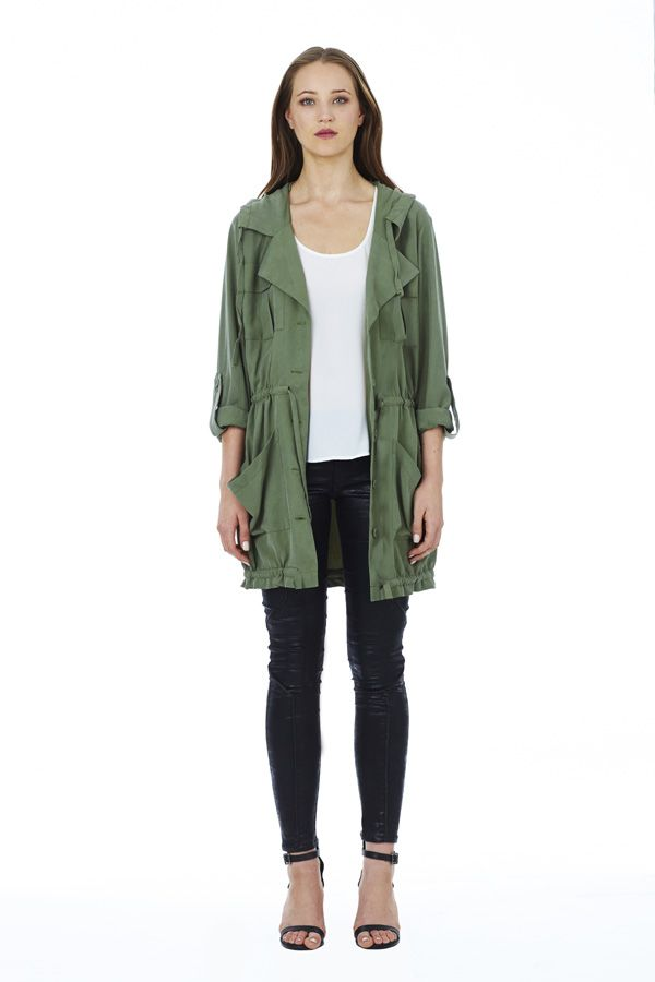 Drifter Top in White under Gypsy Anorak in Khaki with Lone Rider Jean in Black