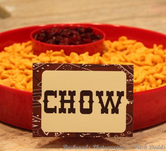 Western Hoe Down Cowboy Cowgirl Birthday Party Decorative Food Labels Custom