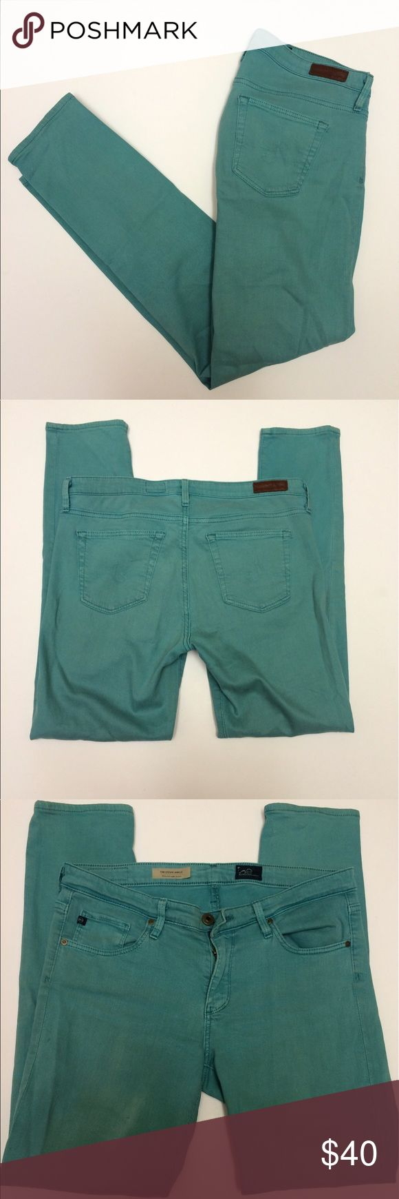 """AG """"The Stevie"""" Teal Skinny Jeans AG """"The Stevie""""  Slim straight ankle jeans  Teal color 8"""" rise  27"""" inseam  Size 29R  They are patched on the inside - see last photo - not visible from the exterior! Ag Adriano Goldschmied Jeans Skinny"""