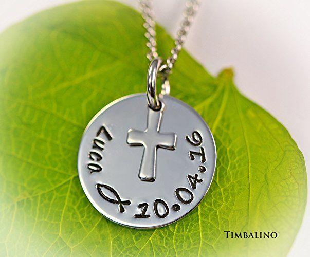 Namenskette, Kreuz, Edelstahlschmuck, Taufkette