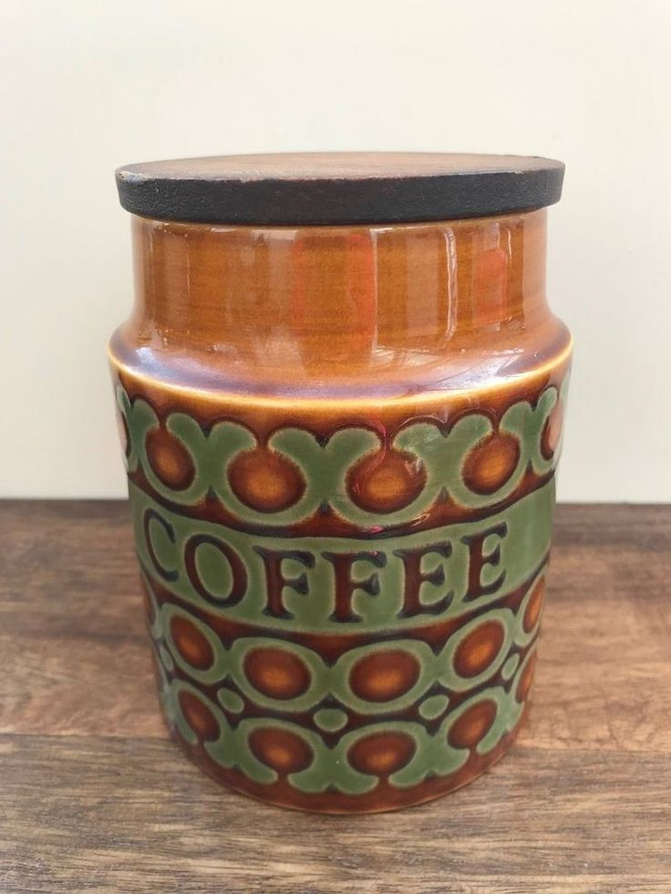 Hornsea Pottery, Coffee Jar, Retro 1970's Kitchenware, Bronte Pattern, VGC #Jars