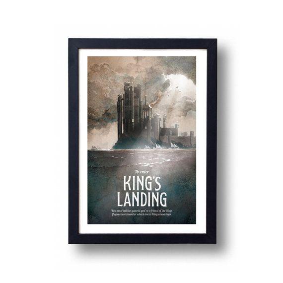 Game of Thrones Poster, Game of Thrones Gift, Game of Thrones Art, House Stark Art, Kings Landing Art, Kings Landing, Game of Thrones Map