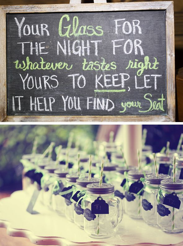 Mason jars as favors, drink glasses and place cards. Genius.