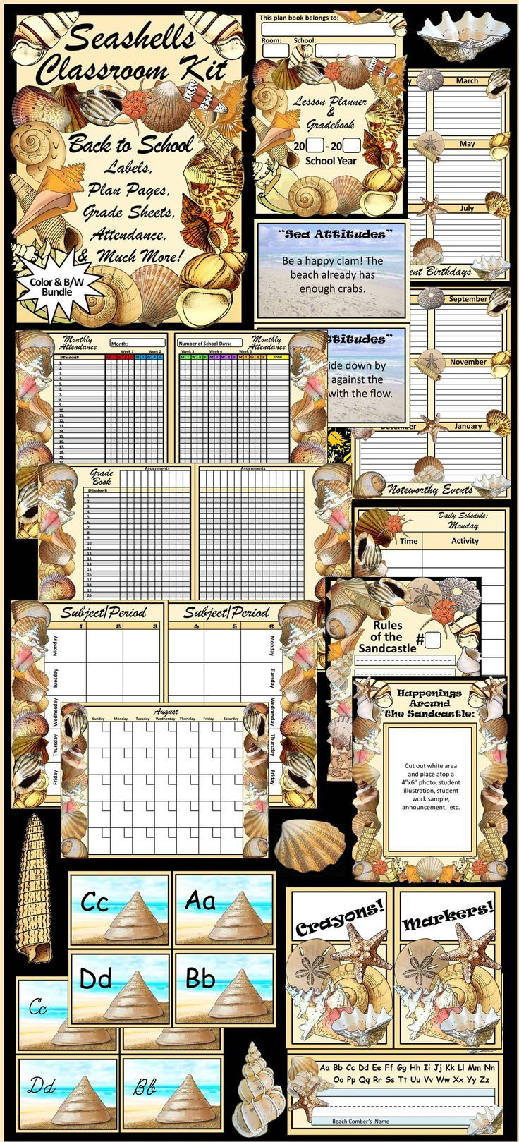 """Beach Theme Classroom Kit and Seashells Lesson Planner: Contains pages and pages of beautiful, classroom management items. Includes  nameplates,  rules templates, supply labels, super student template, birthday templates, lost tooth template, shipshape shipmate award cards, bulletin board decor set, """"sea-attitudes"""" inspirational cards, word wall heading cards, daily schedule, attendance, grade book, lesson planner, calendar, & student contact information sheets."""