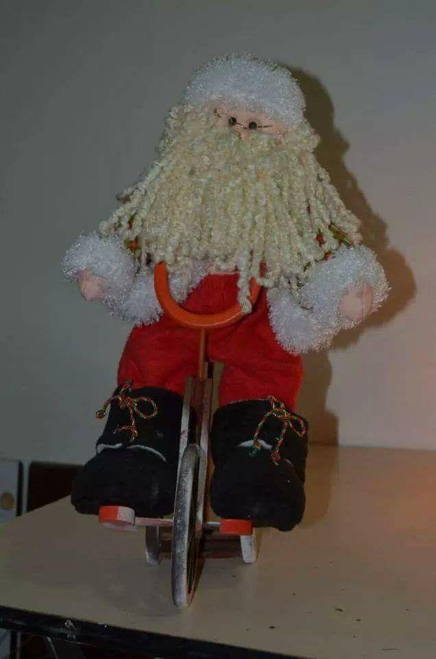 Noel bicicleta de muñecos navideños blanca nieve