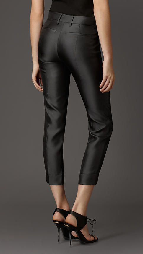 Pintuck Detail Silk Blend Trousers | Burberry