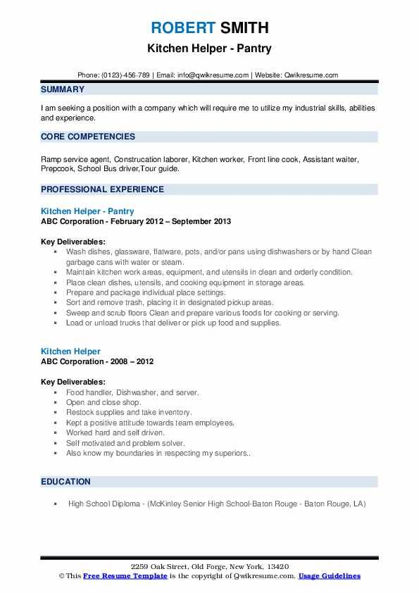 Resume Templates For Kitchen Helper 2 Templates Example Templates Example In 2020 Kitchen Helper Job Resume Template Resume Templates