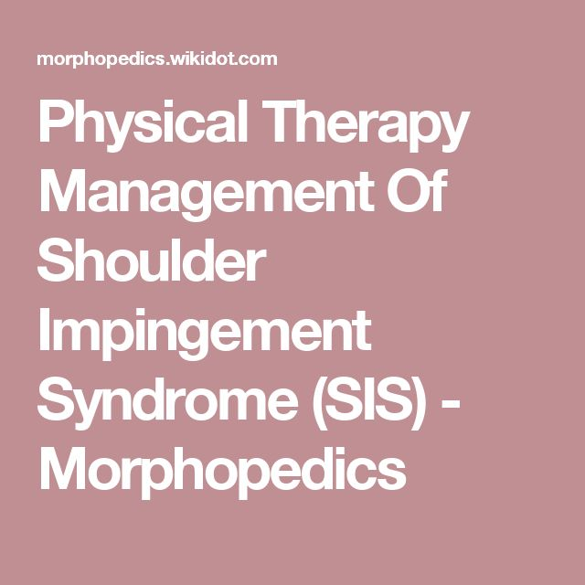 Physical Therapy Management Of Shoulder Impingement Syndrome (SIS) - Morphopedics
