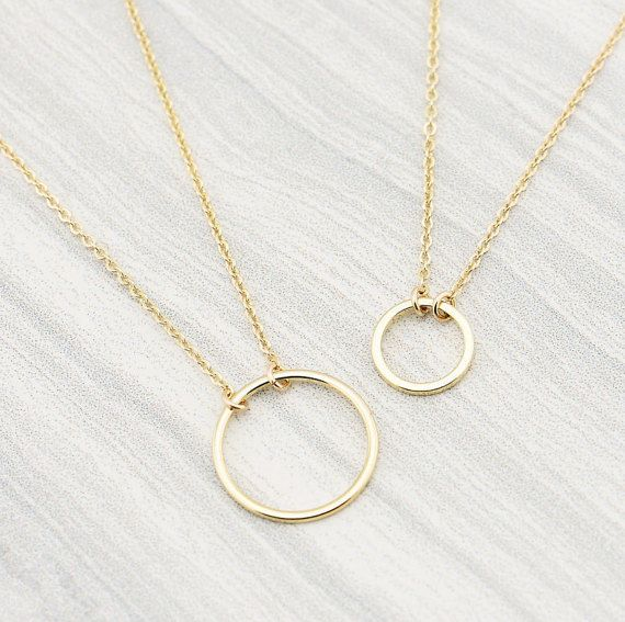 Circle Necklace, Dainty Gold Circle Necklace, Karma Necklace, Delicate Circle Necklace, Interlocking Circle Necklace, Mother's Day gift