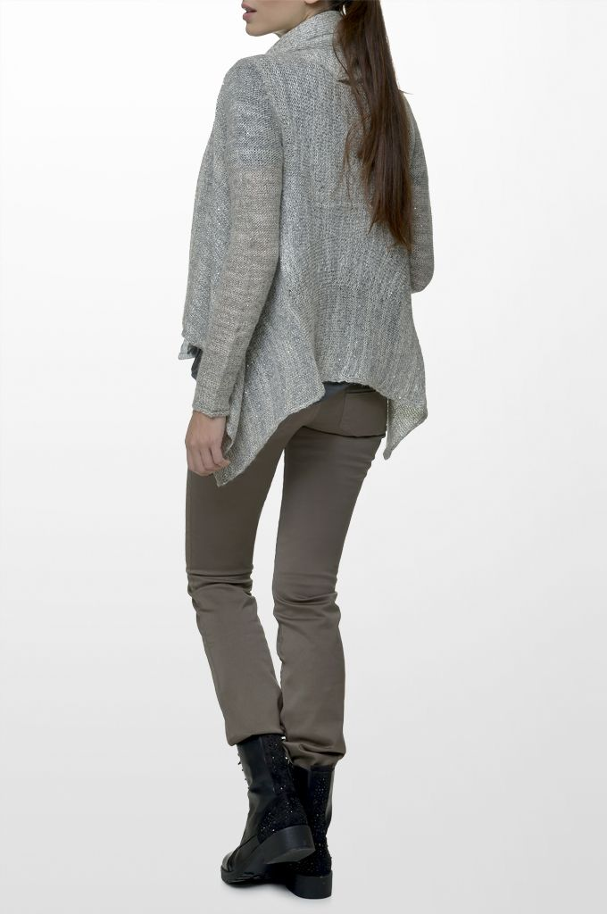 Sarah Lawrence - asymmetrical open placket cardigan, five pocket straight leg pant.