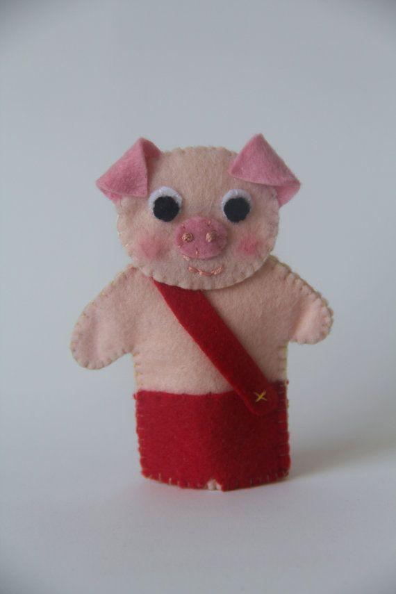Three little pigs felt finger puppets-Finger by LesPetitesshop