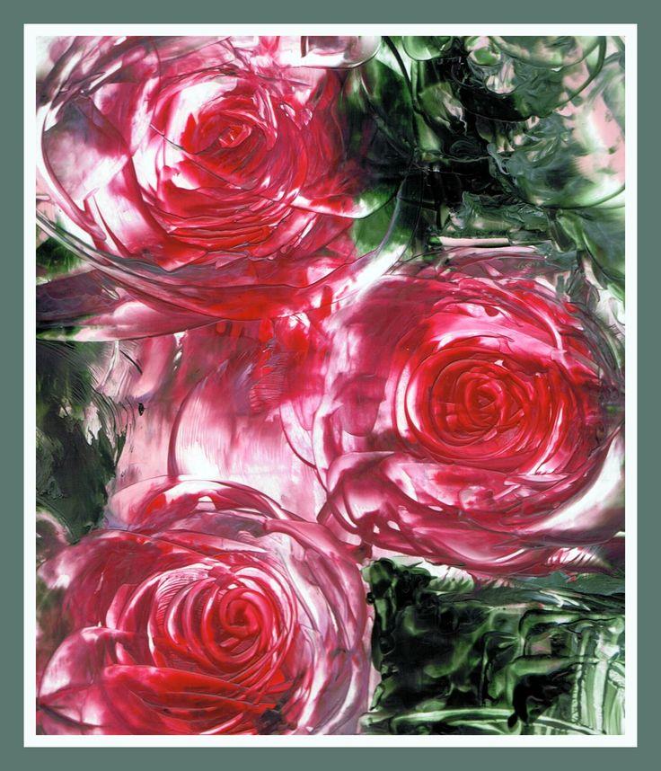 Rozen geschilderd met bijenwas door Beika Kruid