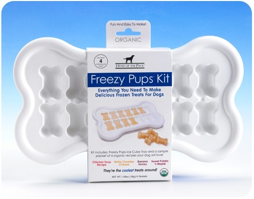 Freezy Pups Kit- Bone-shaped ice cube tray, for frozen dog treats! Comes with dog-treat mixes. $20.99: Dogtreat, Frozen Treats, Pet, Frozen Dogs Treats, Pup Kits, Freezi Pup, Summer Treats, Dog Treats, Ice Cubes Trays