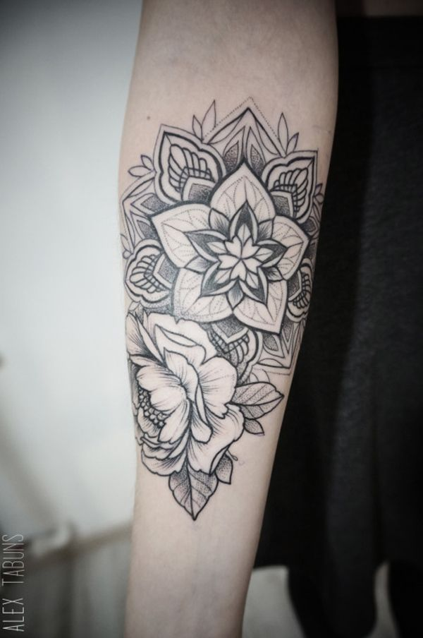 Mandala sleeve tattoo - Compact and wonderful looking mandala sleeve tattoo. The flower details are drawn so carefully that they look almost real like in perspective.