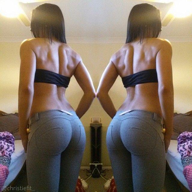 girl feeling leggings ass