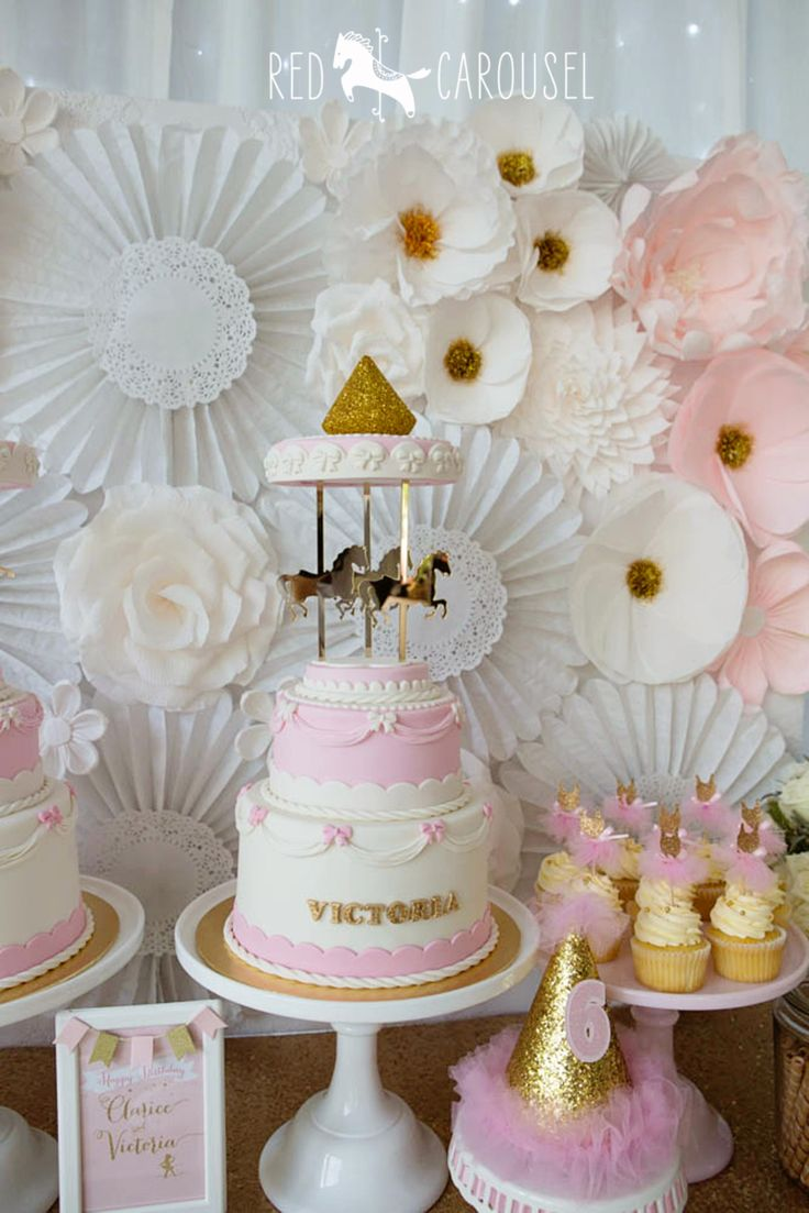 Carousel cake - for a Pink and gold party - with ballerina and carousel theme