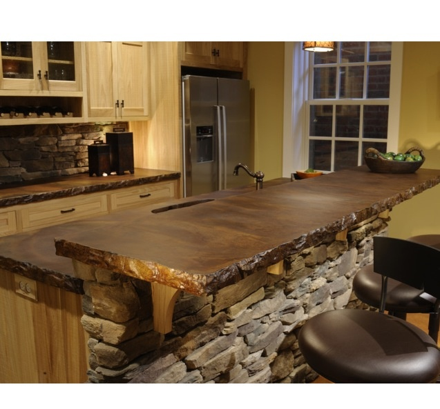 Acid stained concrete counter top with rock bar i want for Concrete bar top ideas