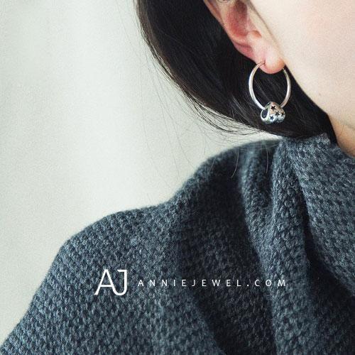 Silver Earrings Hoop Pandora Bead Heart Dangle Drop Gift Jewelry Accessories Women
