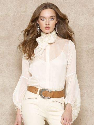 Oh so romantic! Ralph LaurenTie-Neck Silk Blouse
