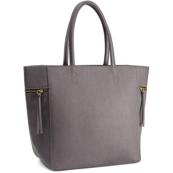 H&M Handbag (675 MXN) ❤ liked on Polyvore featuring bags, handbags, grey, h&m, hand bags, zipper purse, gray purse, zipper handbag and zip bags