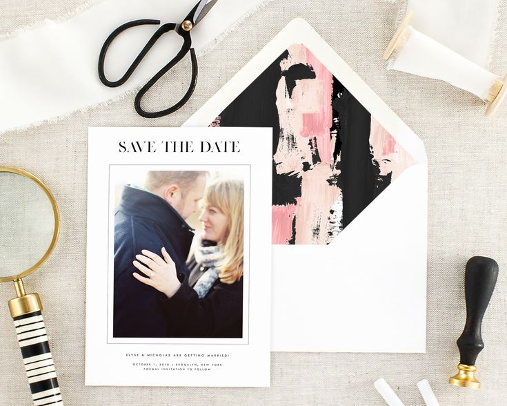 Save the Date with Photo - Modern Save the Dates Printed - Black Save the Dates - Pink Save the Date - Wedding Announcement - Set of 10 by MargauxPaperie on Etsy