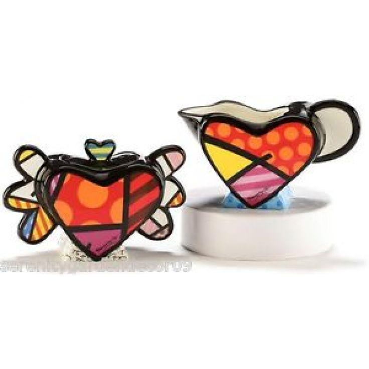 Cream and Sugar Set of 2 Flying Hearts Britto - Romeo Britto by General - ROMEO BRITTO  - COLLECTABLES
