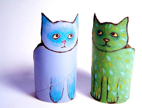 Cardboard Tubes ReCrafted....hmm, thinking these could become Rodrigue Blue Dogs too.