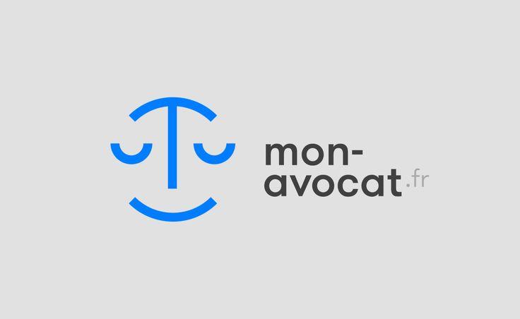 Conception de l'identité visuelle de mon-avocat.fr, site de référencement et de mise en relation avec des avocats sur la France entière. Branding. minimal. logo. lawyer.