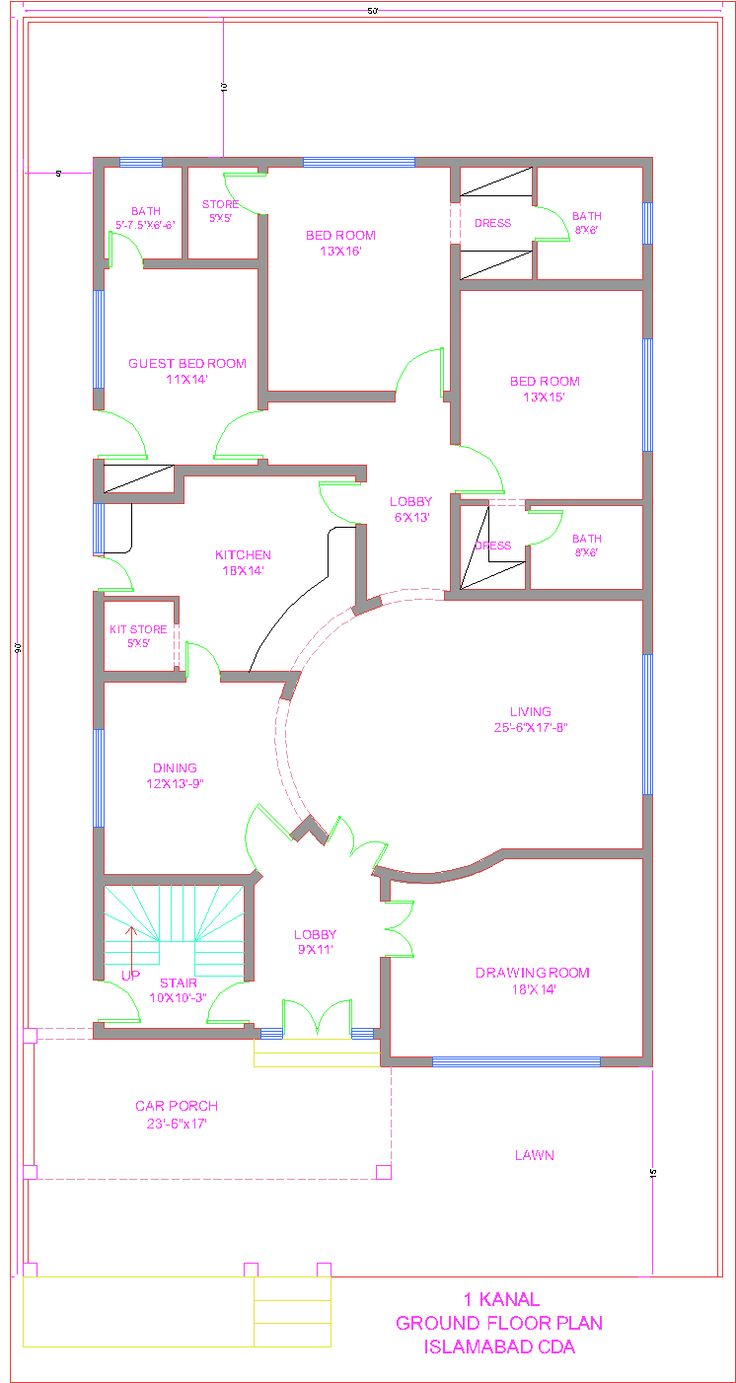 3d front 1 kanal house plan cda islamabad for Room design map