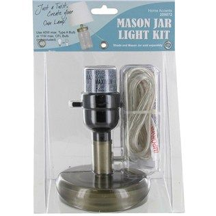 Use this mason jar lamp light kit to create your own lamp in just a twist!| Shop Hobby Lobby