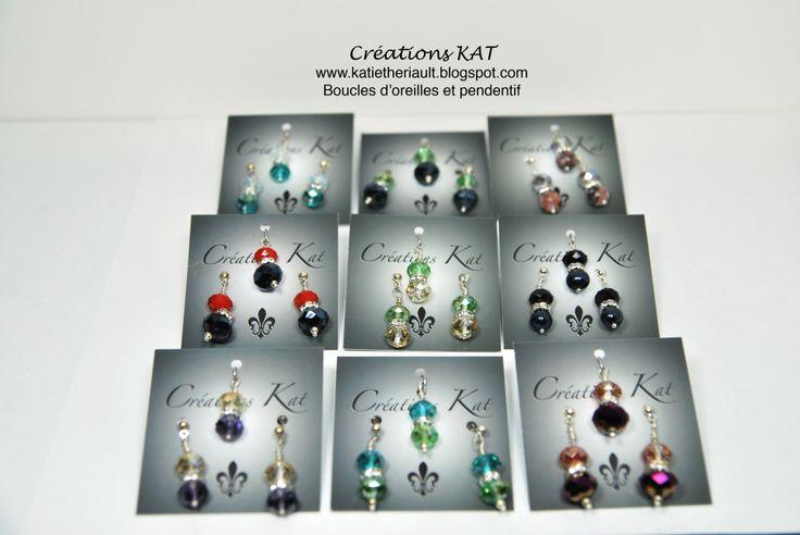 Boucles d'oreilles cristaux, pendentif, Créations KAT, www.katietheriault.blogspot.com