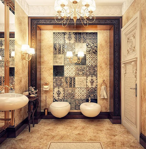 Like spacing between side wall and toilet & bidet.  Arabic Bathroom Design Ideas Door opens to sink - don't see toilet Toilet and bidet, table for misc. sink with wall of mirror.