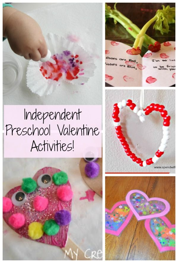 Creative Valentine preschool activities that kids can do independently! Great for in the classroom or at home. Full of fun and learning too!