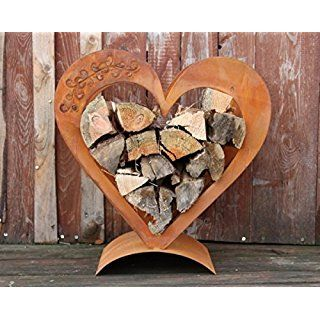 Heart wooden shelf made of rusted metal, Edelrost deco for your garden and terra …