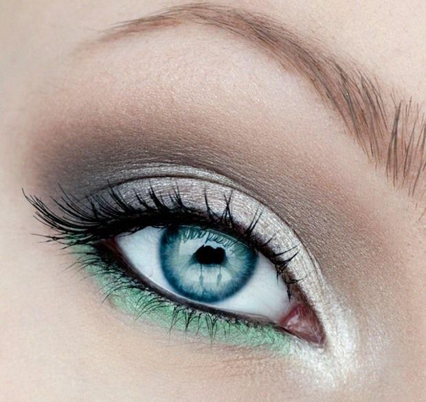 Augen betonen weiß graue Farbe unten grün Farben