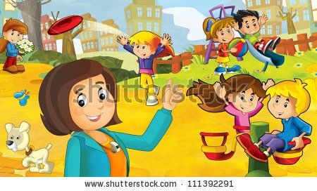 The kids on the playground - illustration for the children 3