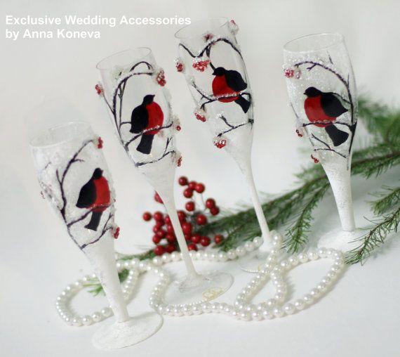Зимняя свадьба.  Снегири Бокалы.  Эксклюзивный ручной работы.  Свадьба, свадьба посуда, Свадебное шампанское флейты