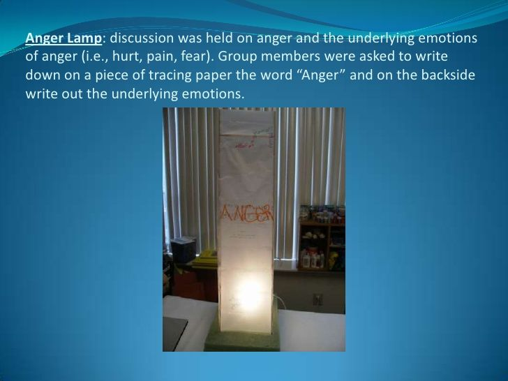 Anger Lamp: discussion was held on anger and the underlying emotions of anger (i.e., hurt, pain, fear). Group members were...