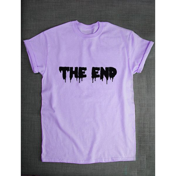 Pastel Goth T-Shirt the End Pastel Goth Clothing T Shirt Green Purple... ($21) ❤ liked on Polyvore featuring tops, t-shirts, pastel goth, shirts, light purple, women's clothing, men shirts, print shirts, henley t shirt and graphic tees