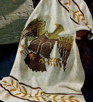 🐦╮ Americano Águia Afegão Crochê Tricô Padrão  -  /  🐦╮ American Eagle Afghan Knitting Standard  Crocheted -