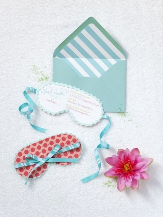 cute spa invitation for girls party