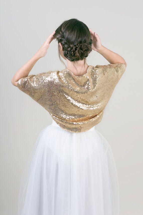 Gold sequin wedding bolero / Bridal bolero / wedding by JULfashion