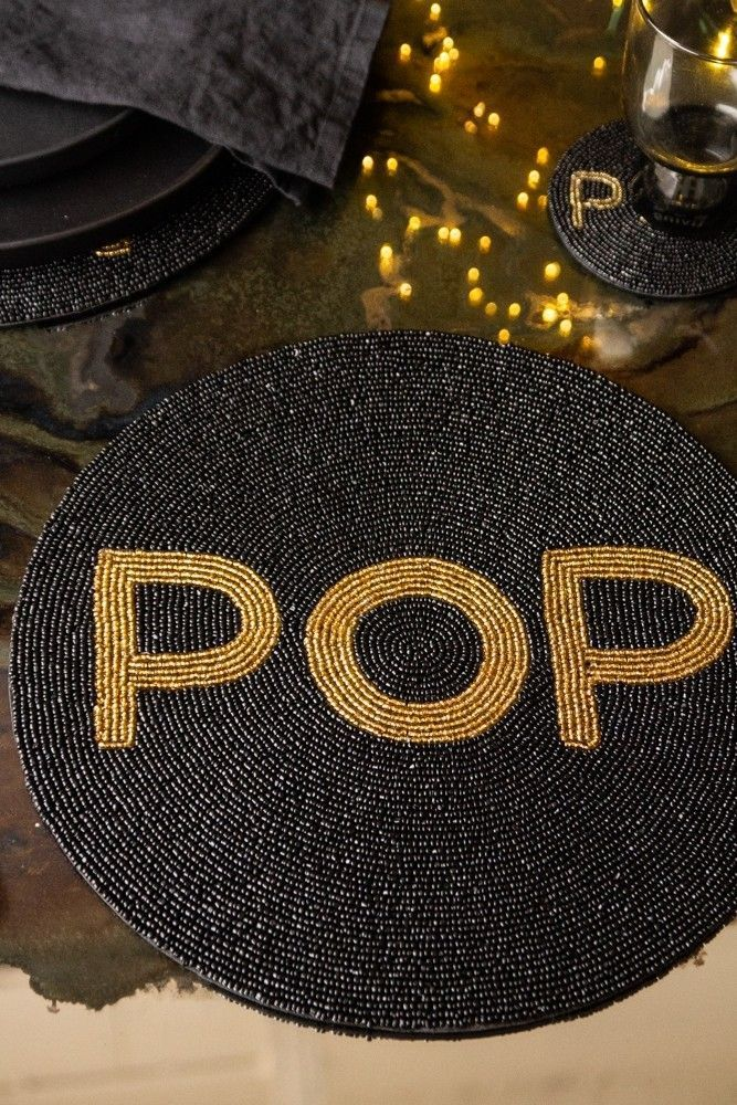 Glamorous Round Beaded Placemat Pop Rockett St George Black Cutlery Table Settings Dinner Rockett St George Dinner Party Table Settings Unique Placemats
