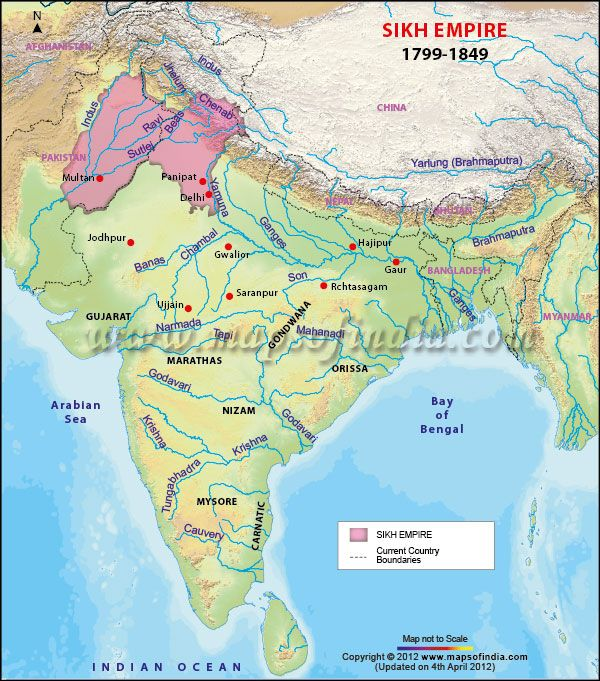 Map depicting the Sikh empire in India in 1799-1849