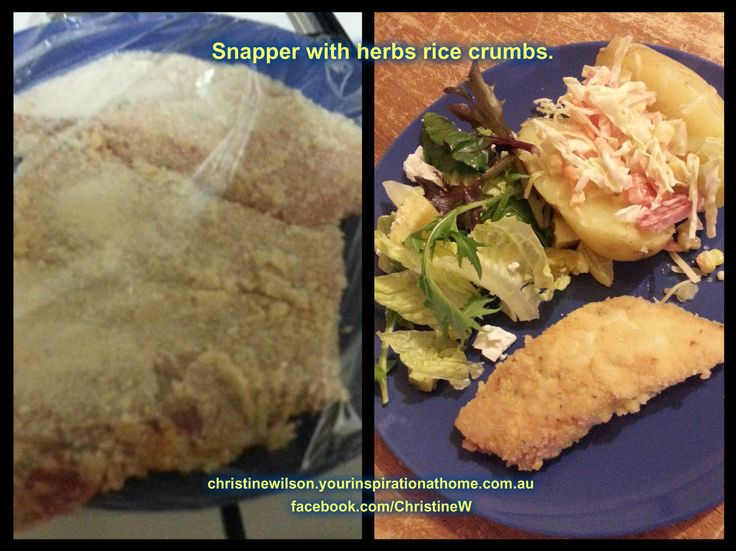 Tonight's dinner - rice crumbed snapper. I added country YIAH Country Onion and Chives dip mix to the egg. Looking forward to it. Not bad for $4.50. Sure beats brought stuff. christinewilson.yourinspirationathome.com.au facebook.com/ChristineW.YIAH