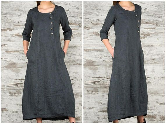 Dark Grey Long Linen Dress * 100% Pure Linen Loose Fitting Dress with Pockets, Buttons * Women Maxi Dresses / Casual Fashion Clothing