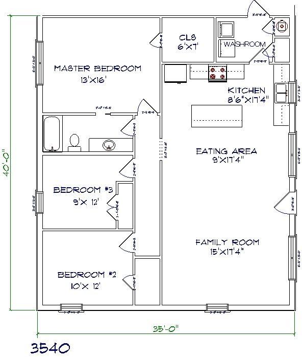35'x40' barndominium floor plans by Henry Abraham | homes in
