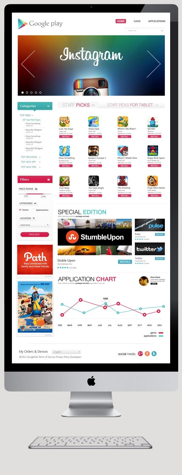 Google Play: Alternative Design by Enes Danış, via Behance