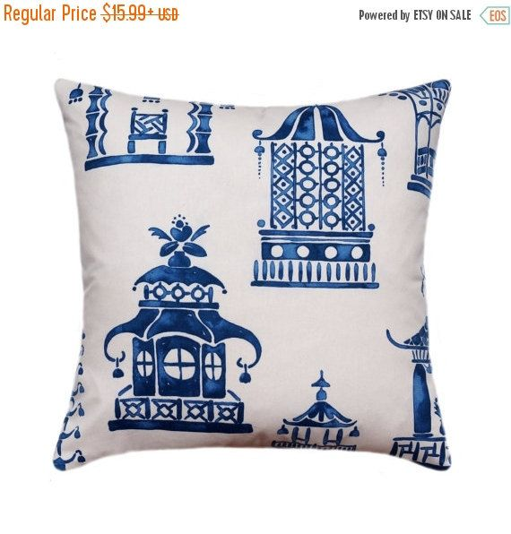 10% SALE Asian Pagoda Decorative Pillow Cover, Porcelain Blue Pillow,  Zephyr Blue Pillow